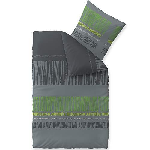 CelinaTex Touchme Biber Bettwäsche 155 x 220 cm 2teilig Baumwolle Bettbezug Anni grau schwarz grün