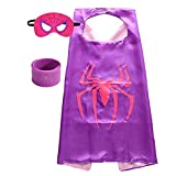 Superhero Capes for Kids, Dress up Costumes-Satin Cape and Felt Mask with Bracelet (Spider-Girl) Red