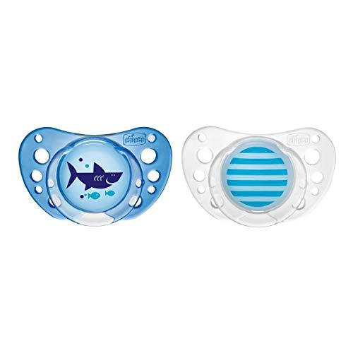 Chicco PhysioForma Air, Chupete de Recién Nacido 16-36 Meses, Tetina de Látex, 2 Piezas, Ayuda a la Respiración Fisiológica y Favorece el Desarrollo Adecuado de la Boca del Bebé, Azul