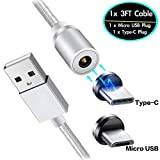 USB Magnetic Cable, Micro USB & Type C 2in1 Charger Cord Compatible Samsung Galaxy S20 S10 S10e S9 S8 S7 S6 Edge Plus J2 J3 Prime J5 J7 Star J8 A8 A9 A10 A10e A20 A20e A20s A30 A40 A50 A51 A60 A70 A71
