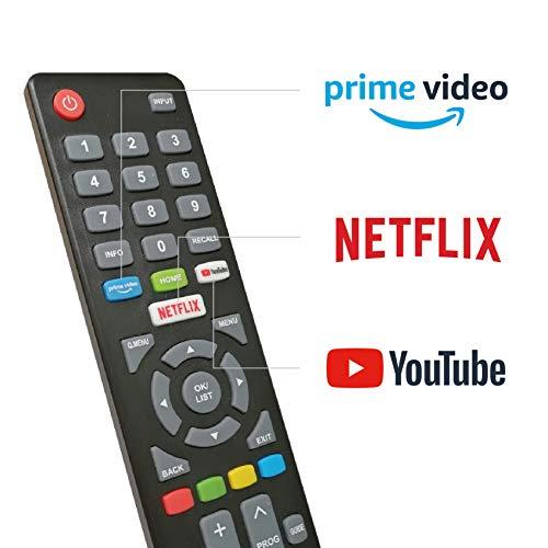 DYON Smart 32 XT 80 cm (32 Zoll) Fernseher (HD Smart TV, HD Triple Tuner (DVB-C/-S2/-T2), Prime Video) & Amazon Basics - Hochgeschwindigkeitskabel, Ultra HD HDMI 2.0, mit Audio Return Channel, 1,8 m