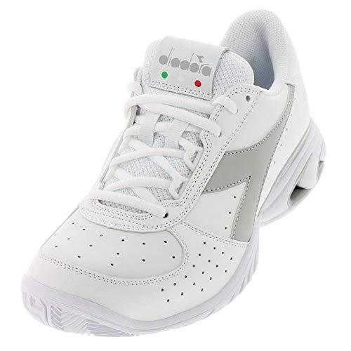 Diadora Women`s S Star K Elite AG Tennis Shoes White and Silver (8.5 White and Silver)