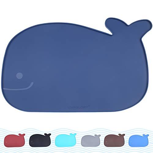 VIVAGLORY Napfunterlage Hund, Futtermatte für Katzen und Hunde, Silikon Wasserfest rutschfest Tiernahrung Matte Platzdeckchen für Futter und Wasser, 48x30cm, Navy blau