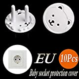 10Pcs Baby Child Power Socket Protection Cover Thickened Round Head Bear 2 Foot Hole European Standard Anti-Electric Shock Socket Protection Cover Socket Plug