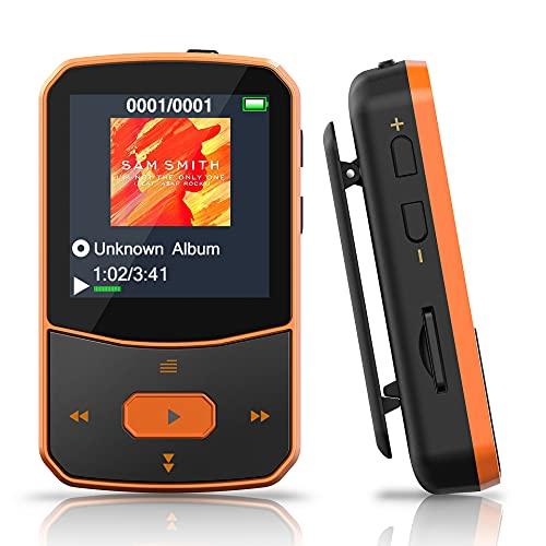 Lettore MP3 Bluetooth 5.0 – MP3 Bluetooth Running, suono di fascia alta, radio FM, registrazione vocale, e-book, pedometro, schermo a colori da 1,5 pollici, supporto fino a 128 GB di schede