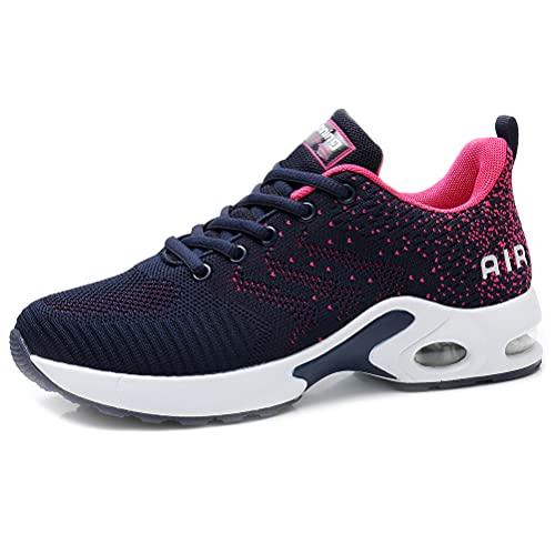 Dannto Zapatos Deporte Mujer Zapatillas Deportivas Correr Gimnasio Casual Zapatos para Caminar Mesh Running Transpirable Aumentar Más Altos Sneakers (Azul,40)