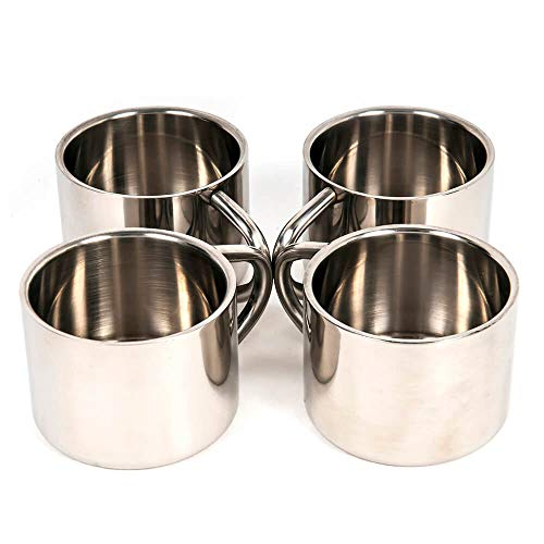 Silver Stainless Steel Double Wall Espresso Cups, Set of 4, Small