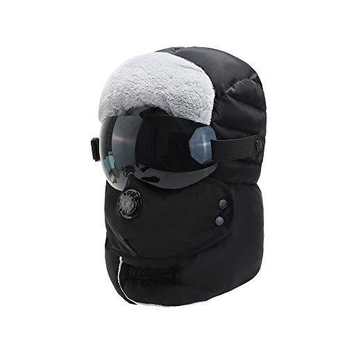 WSZDKA-WOMENBELT Chapka Homme Trappeur Bomber Casquettes avec Masque DéTachable Anti-Vent Anti-PoussièRe Unisexe Chapeau Chaud pour Ski Snowboard VéLo Moto 22-23,5 Pouces (Lunettes Noires)