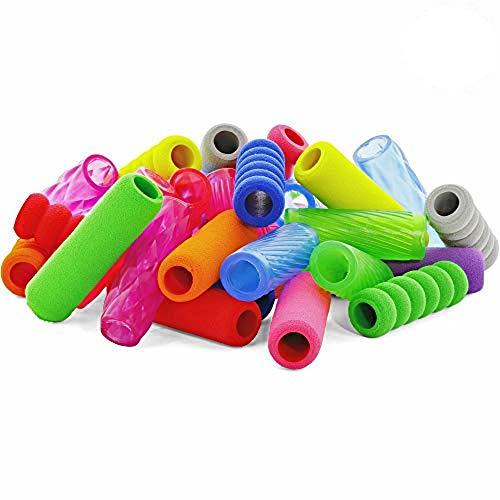 Emraw Soft Foam & Squishy Gel Pencil Grips Assorted Colors Kids Handwriting Pen Grip Children Comfort Writing Posture Correction Tool For Preschoolers (32 Pieces)
