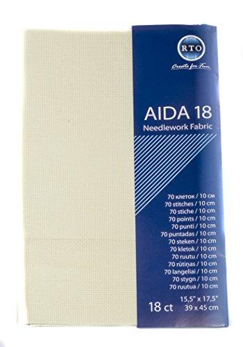 RTO Cuenta de la Tela Aida r.t.o, 18, 100 por ciento algodón, Marfil, 49 x 45 cm