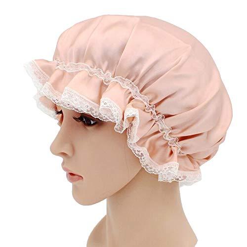 WJH Sleeping Cap pour Les Femmes en Soie Naturelle avec Sommeil Caps Bande élastique pour Cheveux Perte de Sommeil sur la Protection des Cheveux (2 pièces),Flesh