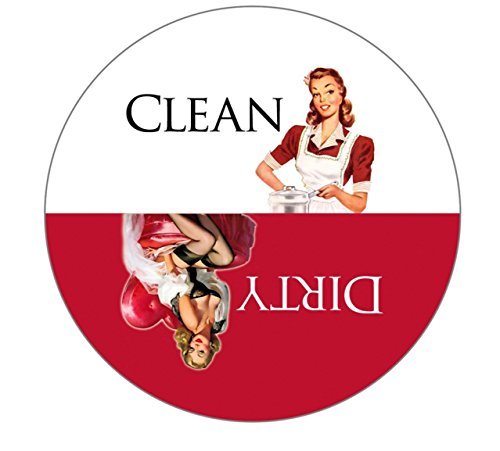 """Aloha Girls Gifts Big 3.5"""" Dirty Clean Dishwasher Magnet Ends Common Kitchen Problem. Adheres to Any Surface. Red and White."""