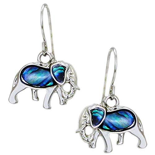 Storrs Wild Pearle Abalone Shell Dangle Earrings Elephants