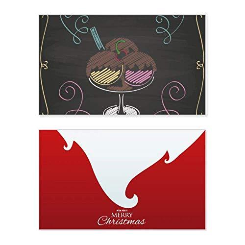 Weihnachtskarte mit 3 süßen Schokoladen und Eiskugeln, Vintage-Nachricht