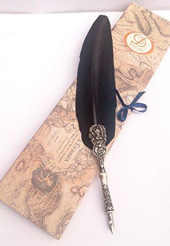 Dallaiti Design Kalligraphiefeder mit Metallspitze verziert mit Drache ca.30 cm blau