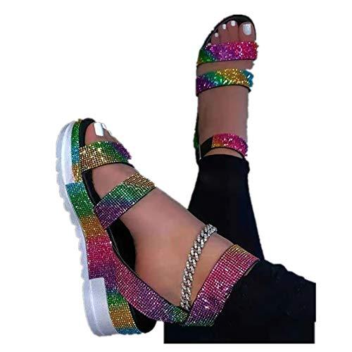 Platform Sandals for Womens Fashion Open Toe Ankel Strap Snakeskin Flats Beach Shoes Wedges Sandals Roman Shoes (41=US:10, ZA-Multicolor)
