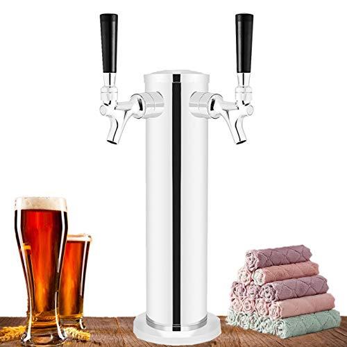 HLYCare Torre de cerveza de doble grifo de acero inoxidable para cerveza barril de cerveza, dispensador de torre Kegerator de 3 pulgadas de diámetro con 2 grifos, manguera, asas de grifo, llave inglesa, toalla de limpieza, accesorios de Kegerator regalos para amantes