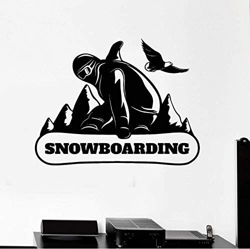 Snowboard Mountain Extreme Sports Vinyl Wandtattoo Snowboard Wandaufkleber Home Decoration Zubehör Für Wohnzimmer 42X54Cm