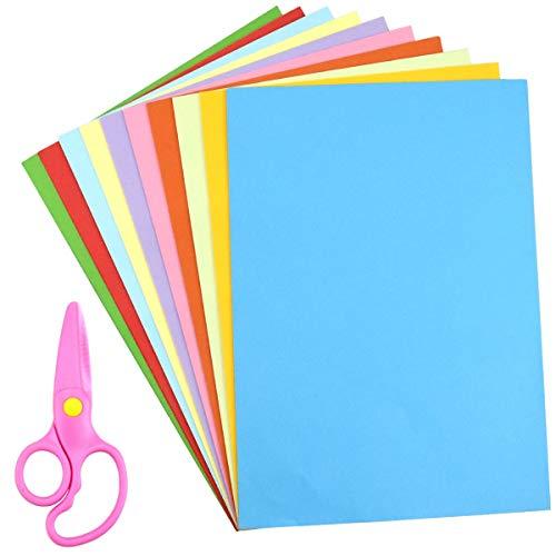 Dokpav 100 Hojas Papel Origami Doble cara A4 y 1 Tijera de Plástico, Papel para Origami para Proyectos de Arte y Manualidades, 10 Colores Origami Papel, 297 * 210mm