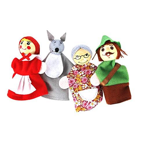 asdfwe 4pcs / Set Finger Caperucita Animales Navidad Marionetas del Dedo De La Marioneta De Juguetes Educativos Juguetes Narración De La Historieta para Los Cabritos del Dedo Animal De Marionetas