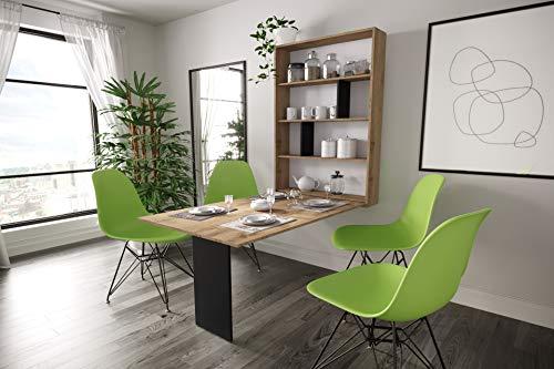 KRYSPOL Ausziehbarer Tisch ABI multifunktional Klapptisch, Esszimmer, Wohnzimmer, Modern Design (Wotan Eiche + Schwarz Matt)