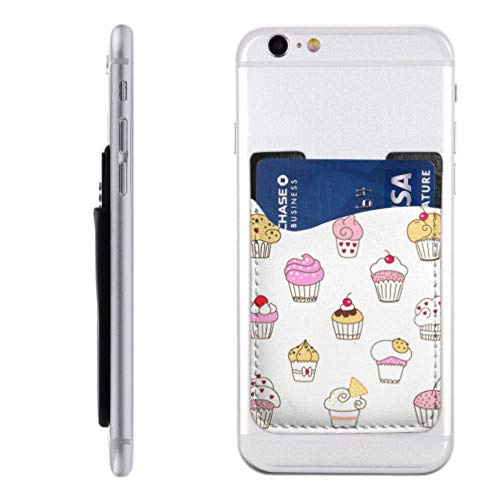 Phone Pocket for Credit Cards Decorated Sweet Cupcakes Best Credit Card Holder with 3m Adhesive Stick-on Fits iPhone Android Most Smartphones Cell Phone Card Holders Credit Card Holder for G