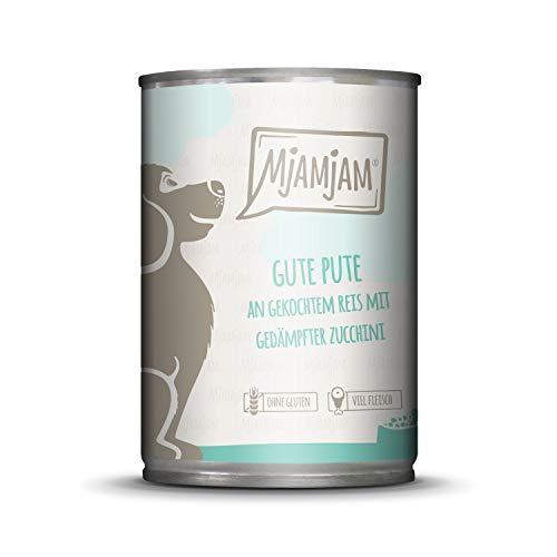 MjAMjAM - Premium Nassfutter für Hunde - Gute Pute an gekochtem Reis mit gedämpfter Zucchini, 1er Pack (1 x 400 g), naturbelassen mit extra viel Fleisch