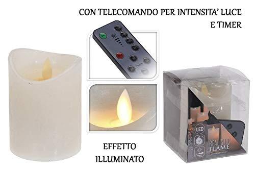 Realistic Flame led-kaars C/TELEC. 10 cm ivoor met timer en dimmer