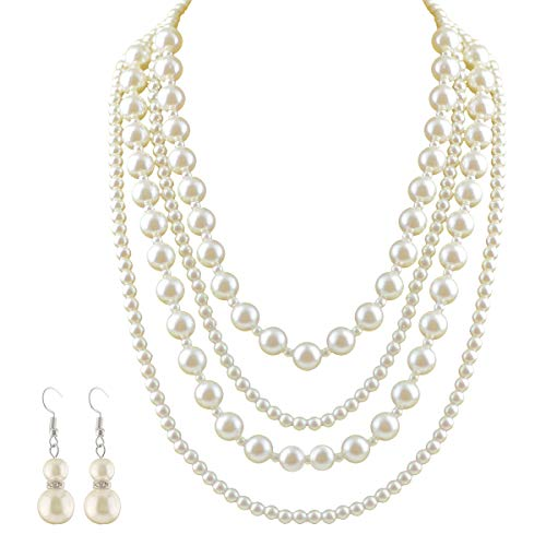 Mecool Multi Layer Faux Pearl Jewelry Set White Bead Cluster Collar Bib Choker Necklace and Earrings Suit