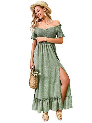Miessial Women's Polka Dot Off Shoulder Long Dress Elegant Summer Split Maxi Dress Green 4-6