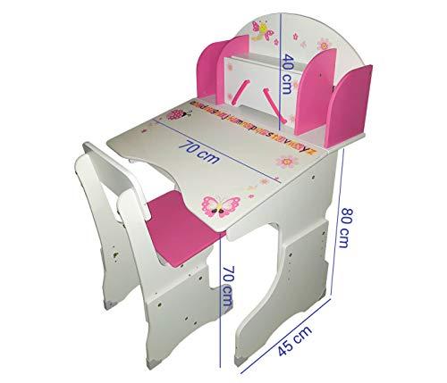 Alsino Schreibtisch Lerntisch Weiß Rosa Kinderschreibtisch und Stuhl beides Höhenverstellbar Holzschreibtisch mit Schubladen Fächern Tischplatte Aufklappbar für Mädchen Kinderzimmer