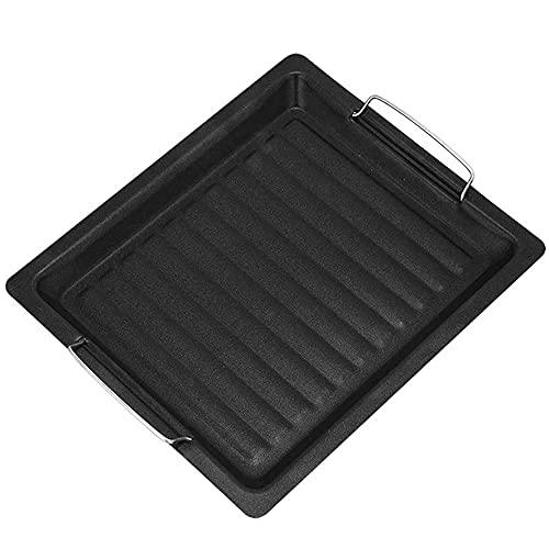 Placa de Barbacoa de Acero Inoxidable Placa de Parrilla Antiadherente Plancha Gruesa portátil Sartén al Aire Libre Suministros de Cocina para Acampar Negro