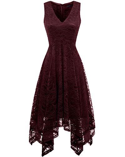 bridesmay Damen Sexy übergröße Spitzenkleid unregelmäßig Cocktailkleid Zipfel Kleid Sommerkleider Burgundy S