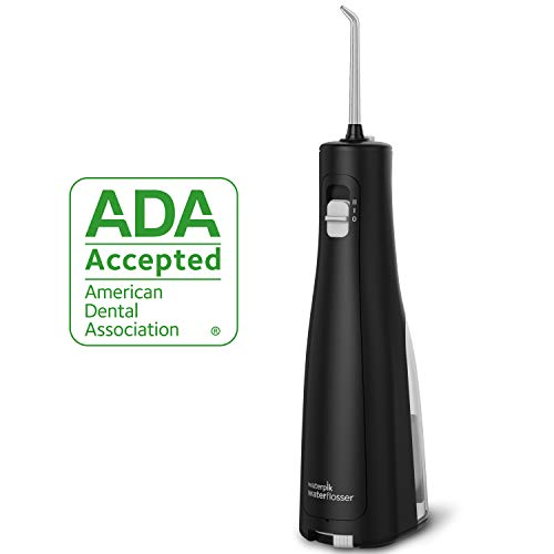 Waterpik Water Flosser Cordless Dental Oral Irrigator for Teeth with Portable Travel Bag and 3 Jet Tips, Cordless Freedom ADA Accepted, WF-03, Black