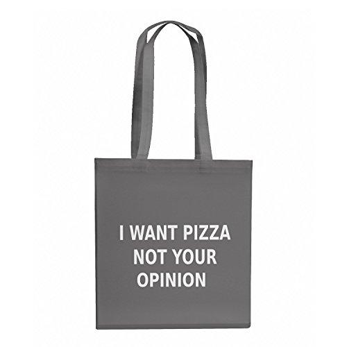 Nerdo Want Pizza not your Opinion - Stoffbeutel, grau