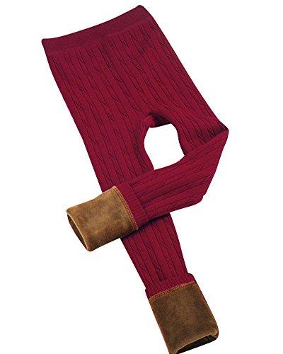 Leggings de Punto Elástico Niña Cálido Pierna Completa Pantalones Leggins Vino Rojo 6-8