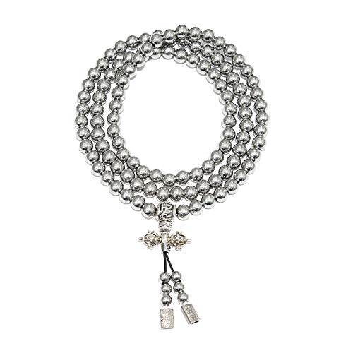 Chimok Mens Stainless Steel Buddha Beads Necklace Bracelet,Buddhist 10mm 108 Mala Beads Bracelet,Buddha Beads Necklace