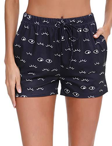 Doaraha Pantalón Corto para Mujer Pantalones Cortos de Pijama Casual Suave Ropa de Dormir Comodo y Suelto Pantalon de Casa Chándal Pant Cordón Ajustable (Azul Oscuro, XXL)