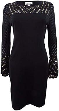 Calvin Klein Women's Studded Bell Sleeve Mini Sweaterdress Black Size S