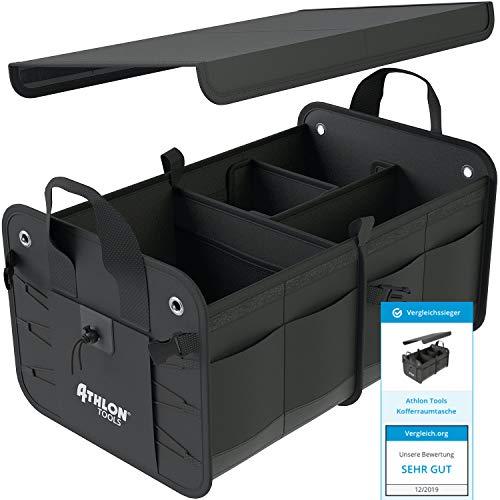 ATHLON TOOLS Premium Kofferraumtasche mit Deckel | Vergleichssieger 12/2019 - sehr gut - | 60 Liter XXL Kofferraum-Organizer | Extra stabile & wasserfeste Böden | mit Antirutsch-Klett