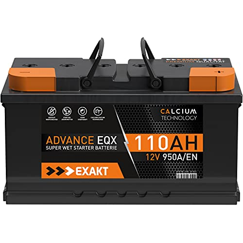 EXAKT Autobatterie 12V 110Ah Starterbatterie PKW KFZ Auto Batterie