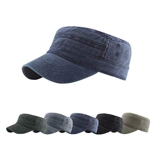 CheChury Cappello Militare Uomo Army Cappellino Cotone Repellente Berretto da Baseball Piatto per Ambientazione Esterna, Sport, Viaggi