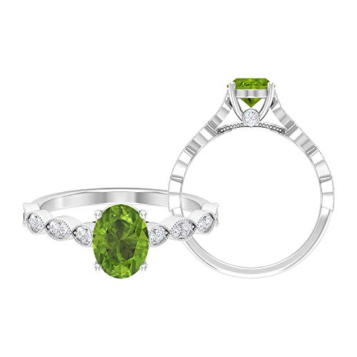 8X6 MM Oval Cut Peridot Ring, Moissanite Ring, Solid Rose Gold Ring, Solitaire Ring with Side Stone Ring, Marquise Band Ring, 14K White Gold, Peridot, Size:UK J1/2