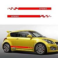 車のサイドステッカー Suzuki swift ストライプデザイン スタイリッシュストレートライン カッティング防水スカート装飾デカール @ 213*12CM Red Aペア