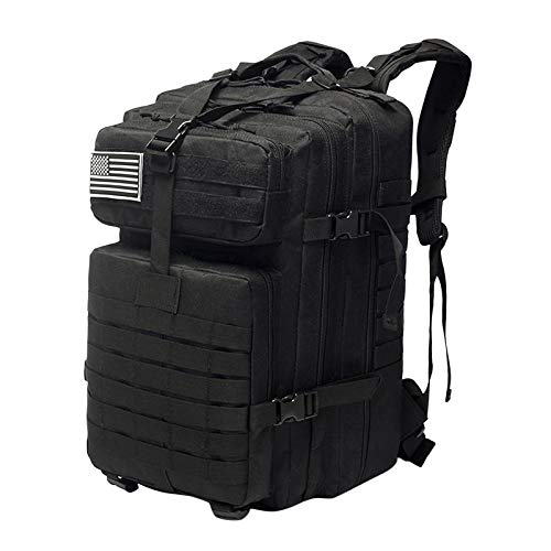50L Military Tactical Backpacks Molle Army Assault Pack 3 Day Bug Out Bag Hiking Treeking Rucksack - Black
