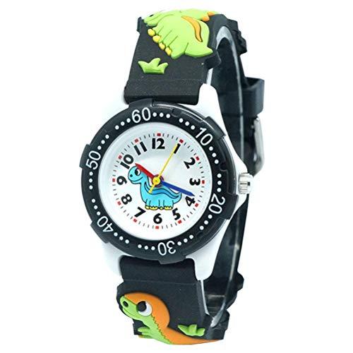 BSTQC Reloj infantil para niños y niñas, resistente al agua, con diseño de dinosaurio en 3D, banda de silicona, los mejores regalos para niños
