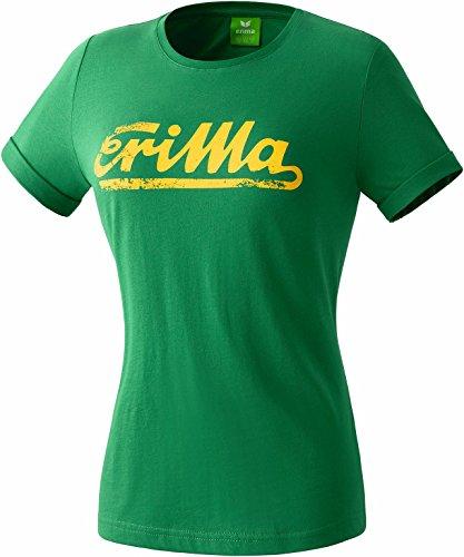 erima Damen Retro T-Shirt, Smaragd/Gelb, 40, 208445