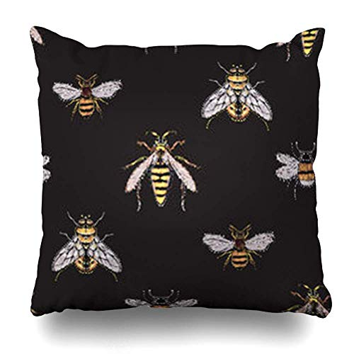 by Throw Pillow Covers Honey Rhinestones Yellow Fly Big Bee Wasp Small Ethnic Funny Crystal Patch Insects On Wildlife Home Decor Pillow Case Square Pillowcase Kissenbezüge 20x20Inch(50cmx50cm)