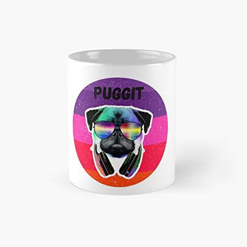 Funny Groovy Pug Dog con auriculares gafas Puggit Classic Mug | Mejor regalo tazas de café 12 oz
