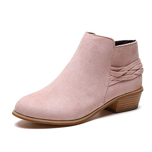 Botines Mujer Tacon Ancho Ante Tobillo Botas Vintage Cremallera Puntiagudo Zapatos Casual Tacon Plataforma Bota Corta Comodos Zapatillas 35-43 riou